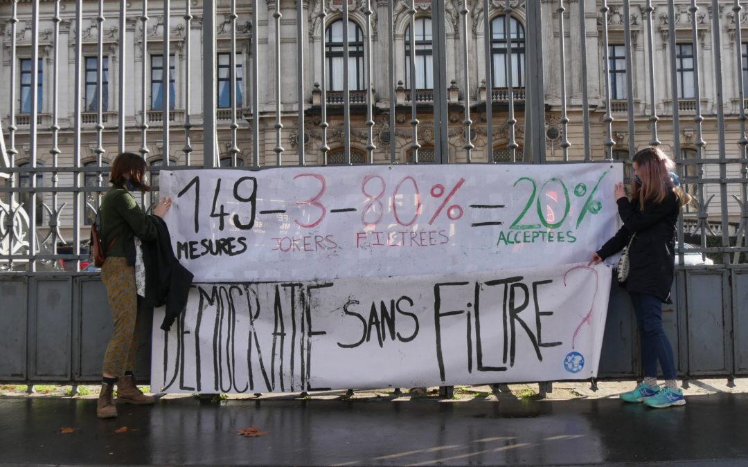 PJL Climat : + de 80% des mesures filtrées, et une démocratie bafouée